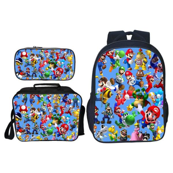 Super Mario Knapsack Students Boys Girls School Bag Surprise Gift Rucksack Fashion Backpack Men Women Travel Bags 3pcs/set