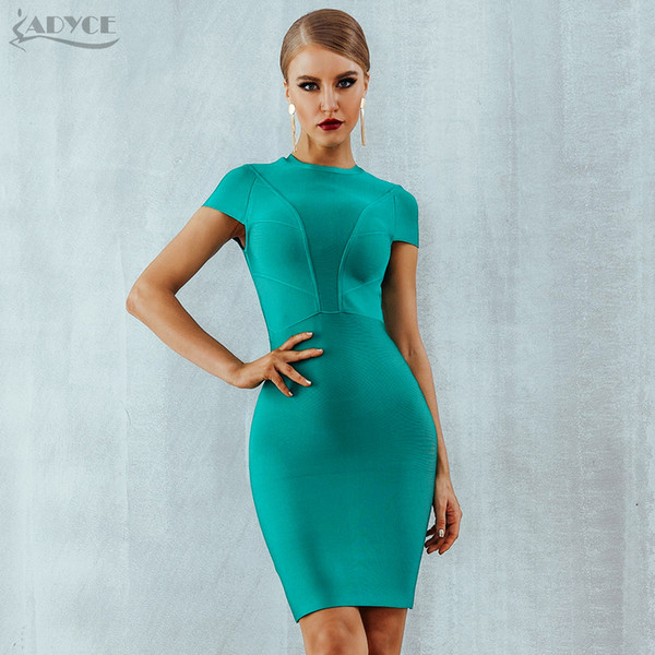 Adyce 2019 New Summer Bandage Dress Women Clothing Sexy Short Sleeve Bodycon Dress Nightclub Mini Celebrity Evening Party Dress T5190615