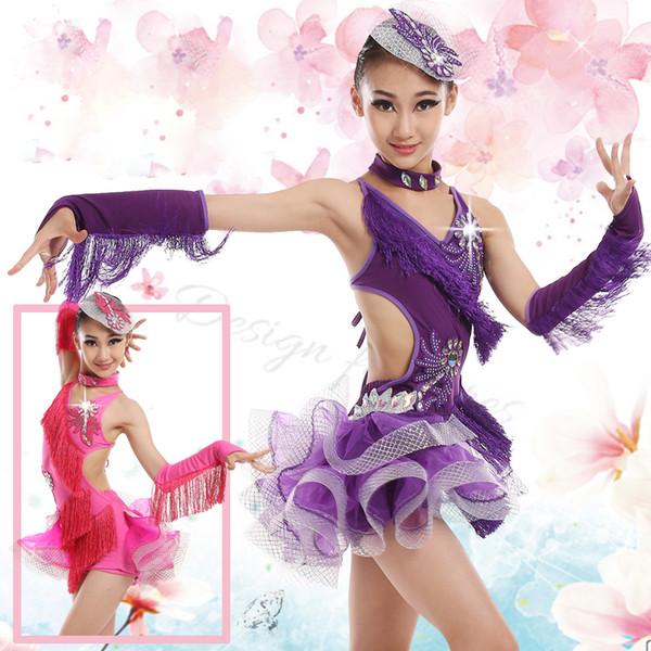 Children Sequin Performance stage Dancewear Fringe latin dance dress girls Samba Salsa rumba Dance Competition Dresses