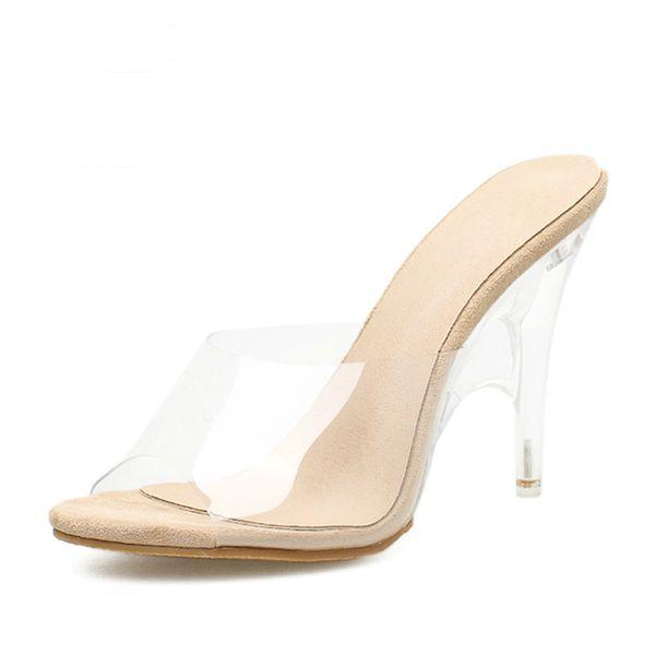 2019 New Women Slippers Sandals Pvc Crystal Heel Transparent Women Sexy Clear High Heels Summer Sandalias Pumps Size 42