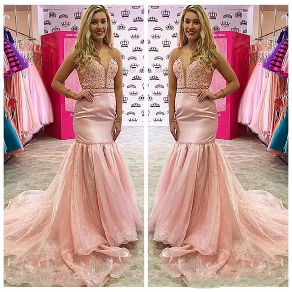 2019 Sheer Scoop Neck Lace Mermaid Pink Prom Dresses Organza Long Slim Vestidos De Soiree Cheap Junior Ladies Evening Party Gowns Cheap