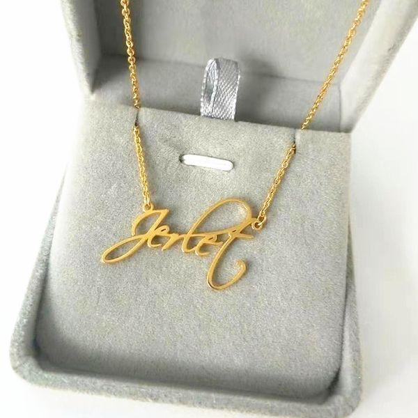 memorial gift personalized signature name necklace hand writing jewelry custom cursive nameplate choker handmade bijoux femme