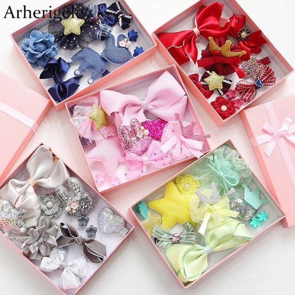 Arherigele 20pcs = 2 set Multi-style Ribbon Bow Accessori per capelli Flower Hair Clips per le donne Headwear Forcelle Barrette Copricapo