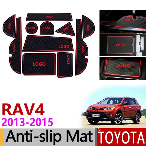 Anti-Slip Gate Slot Mat Rubber Coaster for Toyota RAV4 xa40 2013 2014 2015 pre-Facelift RAV 4 40 Hybrid Accessories Car Stickers
