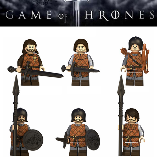 Game of Thrones Action Figure Mini Figures Eddard Stark Spear Infantry Building Blocks Bricks Toys for Children party gifts FFA2071