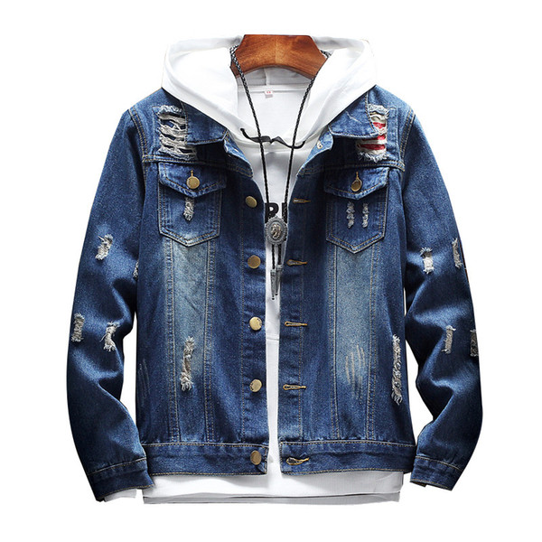 Herren Jeansjacke Trendy Fashion Hip Hop Streetwer Ripped Jeansjacke Herren Jeans Jacken Cowboy Mäntel New Spring Autumn Clothing