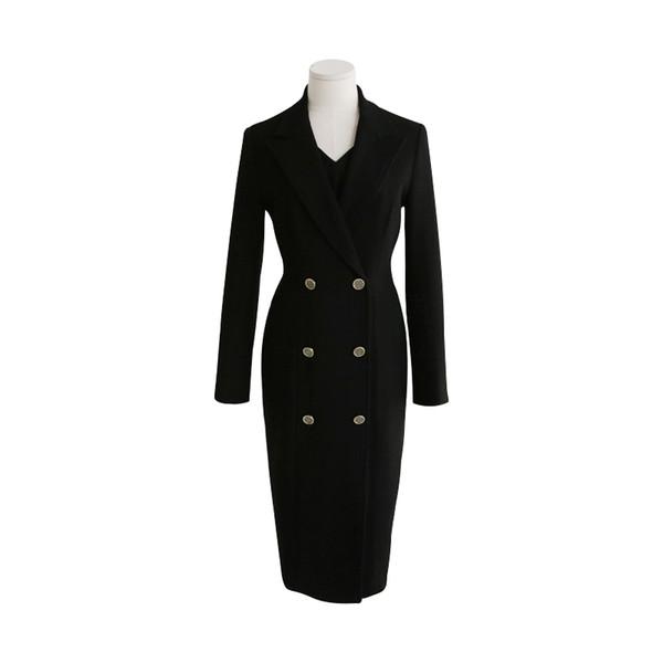Outono Casaco de Inverno Mulheres Casual Casacos De Lã Blazers Feminino Elegante Double Breasted Terno Longo Casaco Senhoras Plus Size 4XL dress