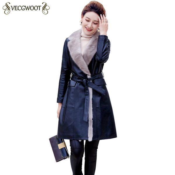 Genuine Leather Long Coat Women 2018 New Slim Sheep Skin Leather Jacket Down Cotton Warm Temperament Coats Female HP361