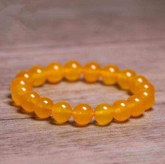 10mm Natural Stones Yellow Topaz Bracelets Jade Round Beads Bangle Men Women Yellow Crystal Quartz Gemstone Jewelry Love Energy Gift