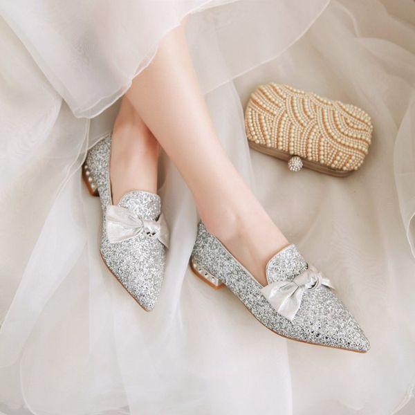PXELENA Bling Frauen Hochzeit Schuhe Niedrigen Absätzen Silber Rosa Pailletten Glitter Spitze Bowknot Komfortable Pumps Slip On 2019 Neu