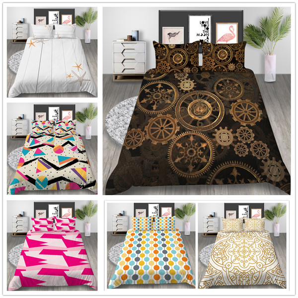 Colourful Mordern Bedding Set Single Double King Size with Bedspreads European style Irregular geometry Quilt Cover Set