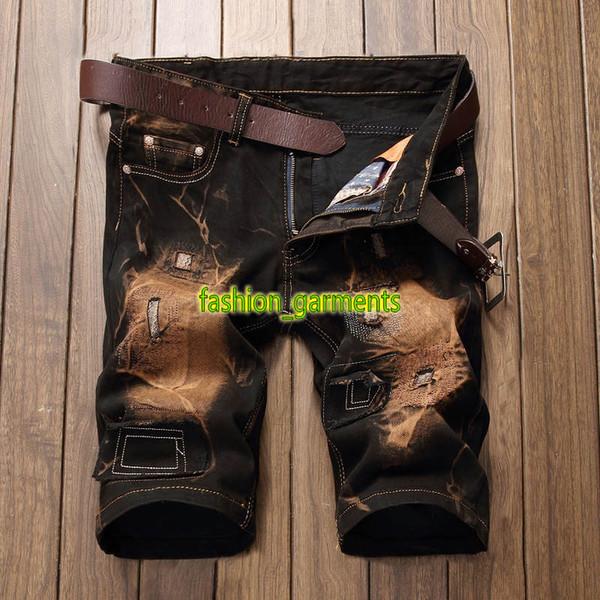 Nueva marca de estilo europeo y americano Jeans hombres personalidad Retro tendencia para hombre cinco pantalones para hombre agujero elástico para hombre pantalones cortos de verano