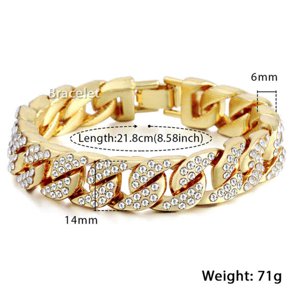 14mm 20cm Mens Bracelet for Women Hip hop CZ Bling Jewelry Gold Silver Color Miami Curb Cuban Chain Iced Out Rhinestones GB403