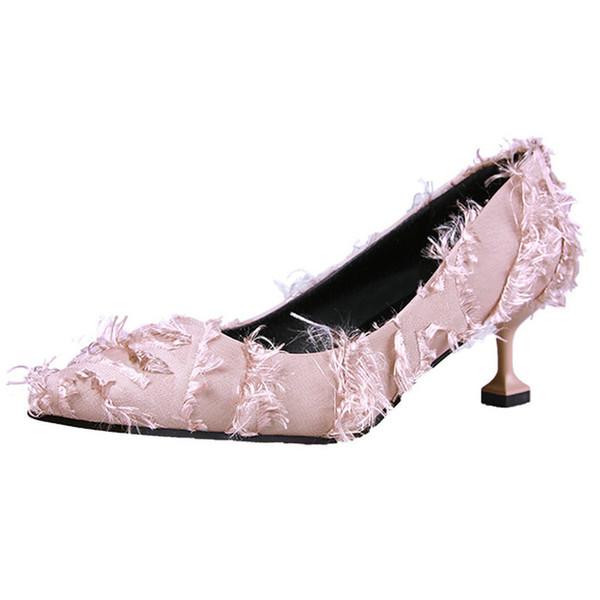Designer Dress Shoes 2019 Autumn New Brand Fashionable Women Pumps Med Heels Turned-over Edge Woman Pants Footwear for Sweet School Girls