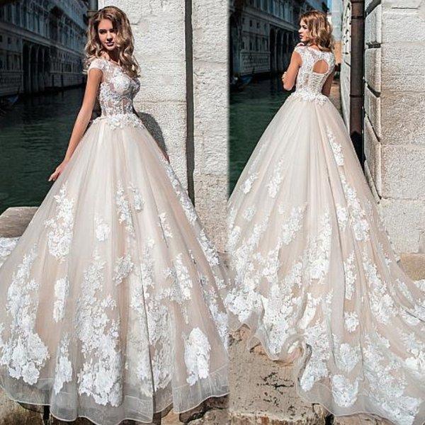 2019 Junoesque Tulle Jewel Neckline See-through Sheer Bodice Bridal Ball Gown Backless Wedding Dress with Beaded Lace Appliques