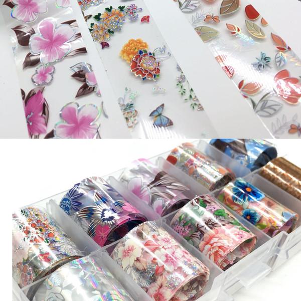 10 Designs 10pcs Holographic Flower Nail Foil Decal Nail Art Foil Paper/Floral Prints Art Decoration Wrap Transfer Sticker
