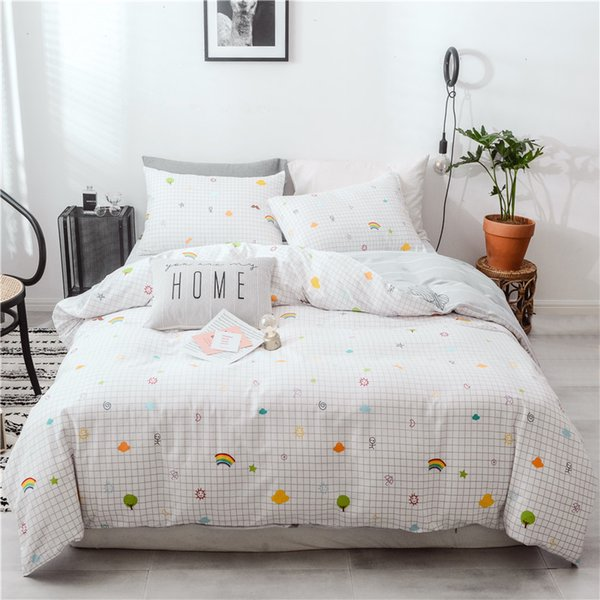 Dreamort 100% Baumwolle Regenbogen Wolken Princess Style 3or4pcs Twin Queen King Size Bettwäsche Set Spannbetttuch + Bettbezug + Kissenbezug