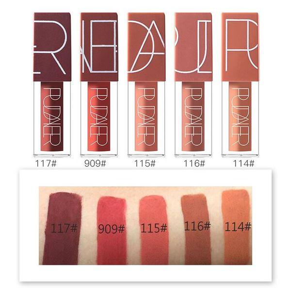 Popular 5 Color Pudaier Sexy Lipgloss Pumpkin Color Series Liquid Waterproof Long-lasting Matte Lipstick Makeup Set Nude Brown