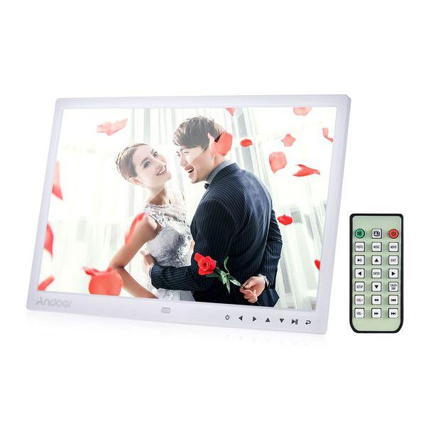 LED Digital Photo Frame Screen Desktop Album Display Image 1080P MP4 Video Clock Calendar HD Resolution with Infrared Remote Control