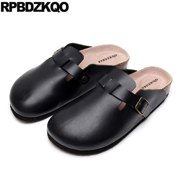 slippers slides shoes beach summer men sandals leather black flat designer size 46 closed toe fashion cork large metal mules