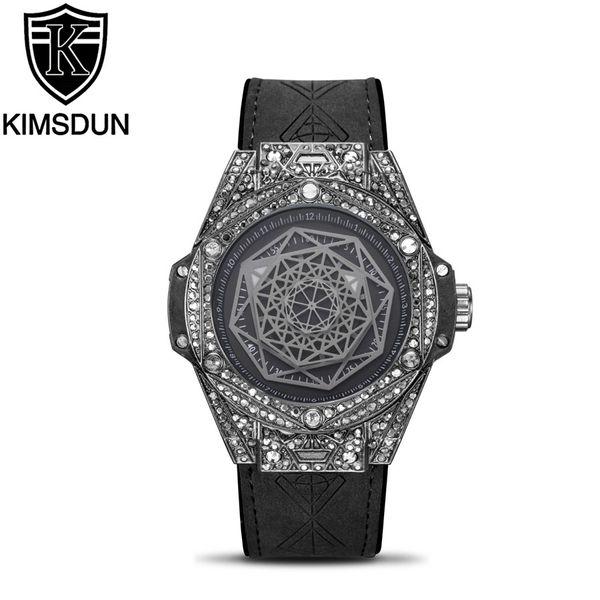 KIMSDUN Men's Trends Personality Fashion Luxury Diamond Quartz Watch Relogio Masculino Classic Silicone Strap Sports Clock Watch