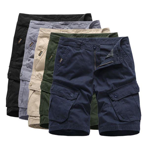 2019 Mens Cargo Shorts verano ejército verde de algodón Shorts hombres sueltos Multi-bolsillo Homme Casual Bermuda pantalones