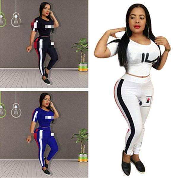 Luxury Fils FIL Designer Tuta da donna Completo a due pezzi T shirt a righe Crop Top Leggings Pantaloni Body Tuta sportiva Sportswear C61807