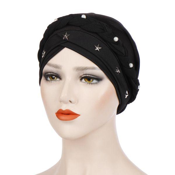 Women Cross Silk Braid Pearl Star Turban Hat Cancer Chemo Beanie Cap Hijab Headwear Head Wrap Hair Accessories