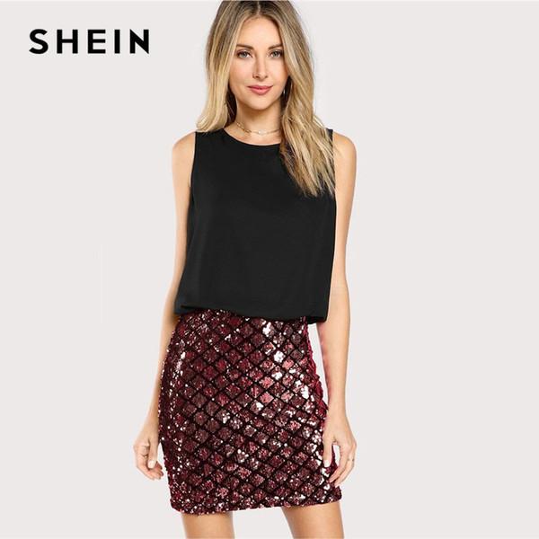 343f17dc23 SHEIN Women Party Dresses Multicolor Sleeveless Zipper Back Contrast Sequin  Sheath Dress Two Tone Sparkle Combo