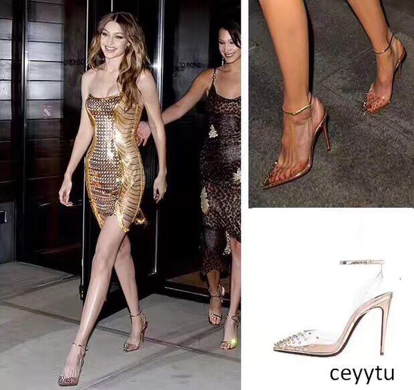 Las bombas más nuevas inferiores rojos de tacón de cuero genuino Mujer Cristal Womans altos talones acentuados del dedo del pie zapatos de boda remache completo original Packaging12