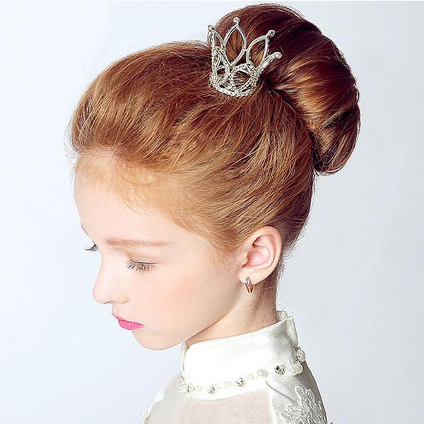 Small Girls Crown Tiara Hair Combs Clear Stone Crystal Mini Tiara Hair Accessories Jewelry D19011005
