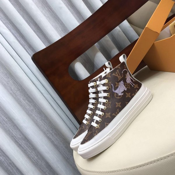 2019D new luxury design high-top ladies boots, leather ladies sneakers, high-quality ladies casual shoes, original box packaging invoice del
