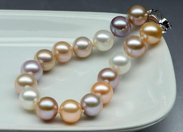 Fast Free shipping New Real Fine Pearl Jewelry Natural 10-11mm AKOYA round white pink purple pearl bracelet 7.5-8inch