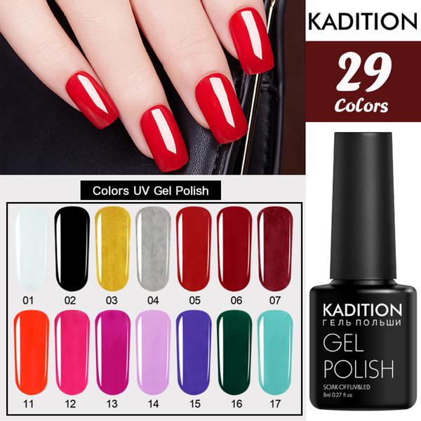 KADITION 3pcs Colored Nail Soak Off UV LED Nail Gel Polish Natural Colors UV Gel Polish Curing Gels for Of Lacquers Primer