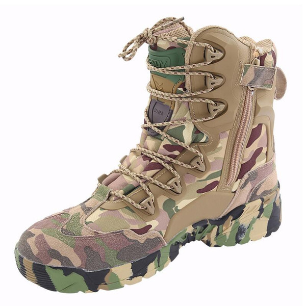 High-top camouflage desert boots non-slip wear-resistant outdoor men's hiking shoes, combat boots hiking camping cycling extreme challenges