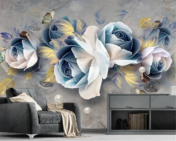 3d Wallpaper Mural Three Dimensional Relief Rose European Retro Tv Background Wall Decoration Hd Wall Paper Wallpaper Hd Desktop Widescreen Wallpaper