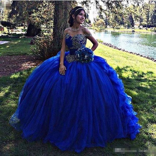 Ball Gown Royal Blue Quinceanera Dresses 2019 Plus Size Ruffles Skirt Vestidos De 15 Anos Beaded Corset Off The Shoulder Sweet 16 Dress Yellow