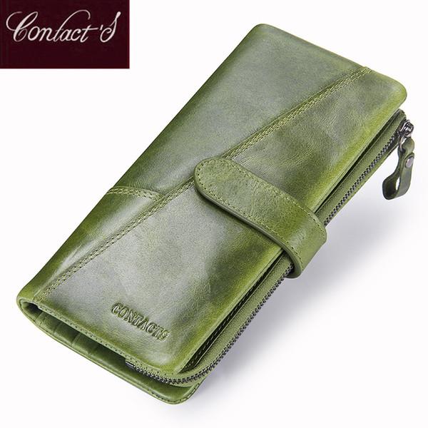Nuovo portafoglio in vera pelle del contatto della borsa della moneta di modo per le donne della donna lungo portafogli della frizione con il supporto di carta delle borse del telefono cellulare Y19062003