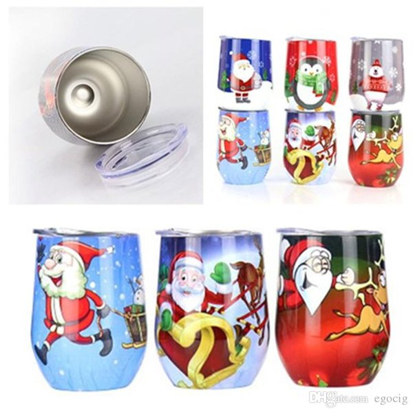 Christmas red wine glass beer mug eggshell cup vacuum 304 stainless steel vacuum flask wine glass pot belly Vacuum U-shaped egg cup