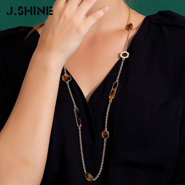 JShine 2019 Leopard Acrylic Fashion Long Necklaces Geometric Acetate Long Sweater Chain Female Necklace Women Accessories
