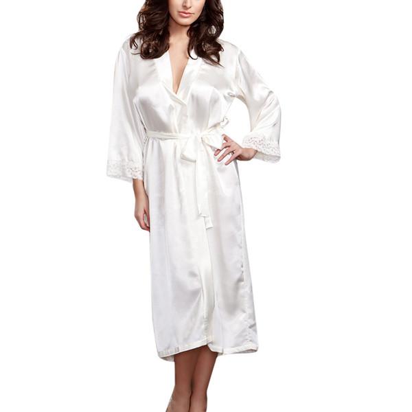 MUQGEW sexy night dress bathrobe women robe femme Women Sexy Long Silk Kimono Dressing Gown Babydoll Lace Lingerie Bath Robe #y3