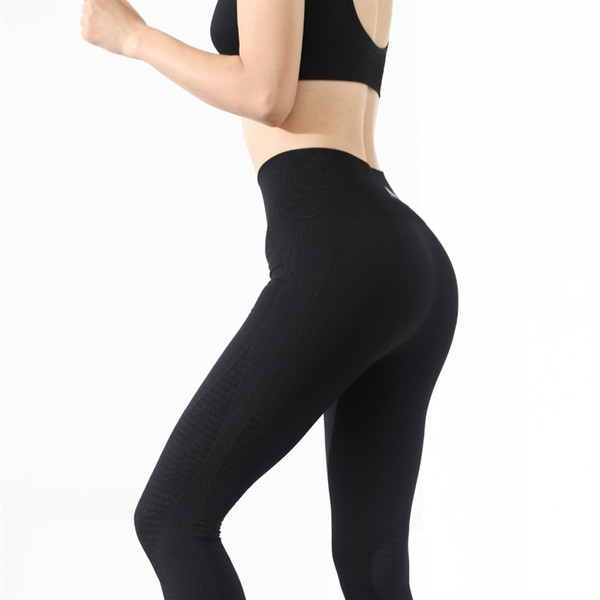 Ghette senza giunte di energia + reggiseno con spalline 2 pezzi Yoga Set Donne Palestra fitness abbigliamento a vita alta Set di leggings yoga in esecuzione Sportswear # 790686
