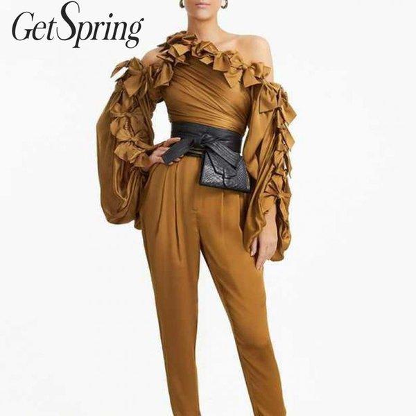 getspring women shirt bow skew collar off shoulder womens  blouses lantern sleeve irregular vintage pink blouses top