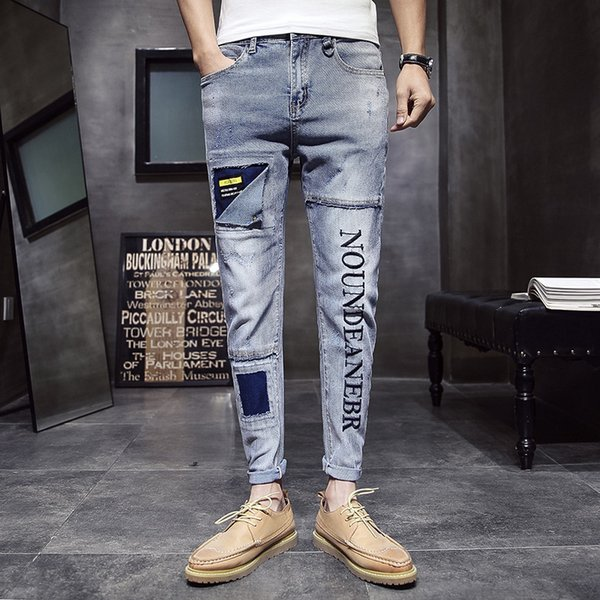 ORINERY 2019 New Designer Men Jeans Fashion Patchwork Letters Embroidery Pants Casual Long Denim Trousers High Quality Clothes