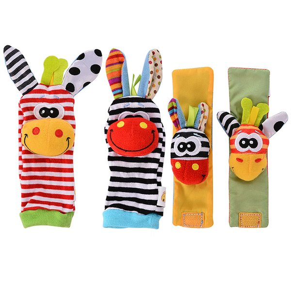 Newest Wrist Rattles Hands Foots Finders Baby Infant Soft Toy Baby Socks Wristand Cute Enducation Development Toys