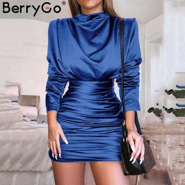 BerryGo Sexy satin femmes solides robe col roulé robe de soirée moulante taille haute froncée mini-robes à manches longues, plus la taille