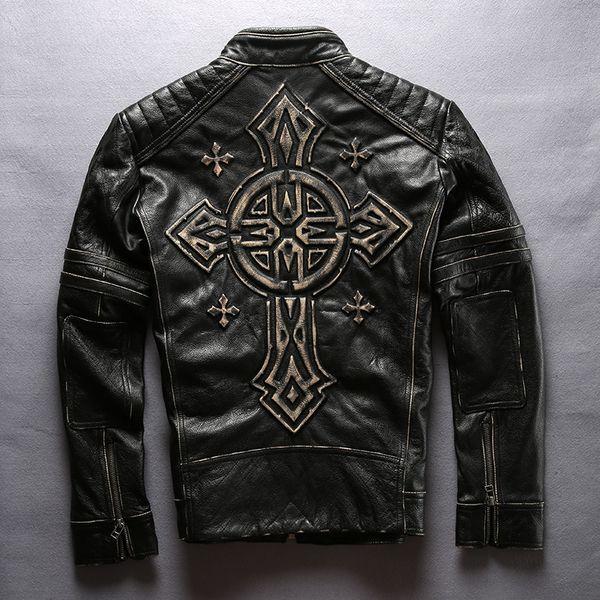 2018 New Men's Motorcycle Leather Jacket Vintage Black Thick Cowhide Genuine Rider Jackets Back 3D Cross Biker Coats