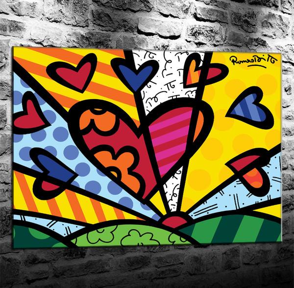 Obras de Romero Britto, HD Impresión en lienzo Decoración para el hogar Pintura de arte (sin marco / enmarcada)
