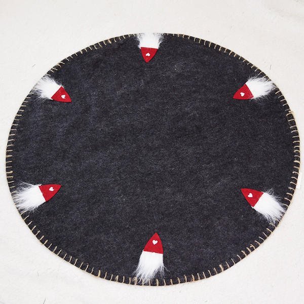 100cm santa claus wool felt beard old man christmas tree skirt mat father christmas red gray heart snowflakes xmas rugs