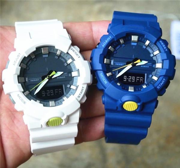 2019 Relojes deportivos para hombre LED Reloj digital impermeable para hombres Reloj de pulsera Todo el puntero funciona con caja Correa de reloj Reloj de cuarzo militar de goma del ejército
